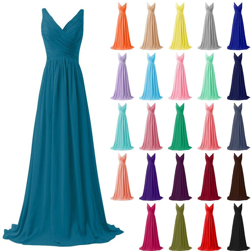 STOCK Long Chiffon Formal Prom Party Evening Wedding Bridesmaid ...