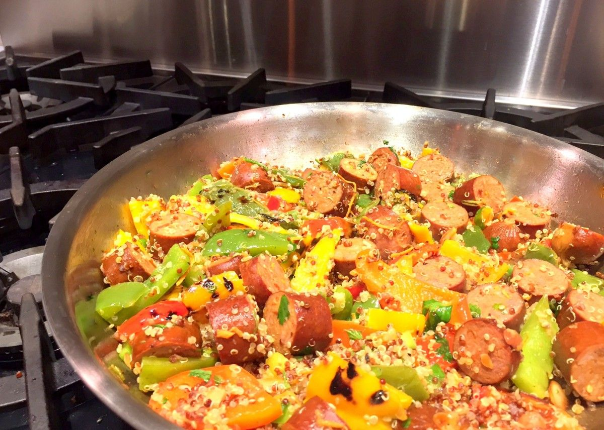 It's time to spice things up! Try this super simple Cajun stirfry with Andouille sausage and peppers. Add quinoa for a complex carbohydrate to round out the meal.