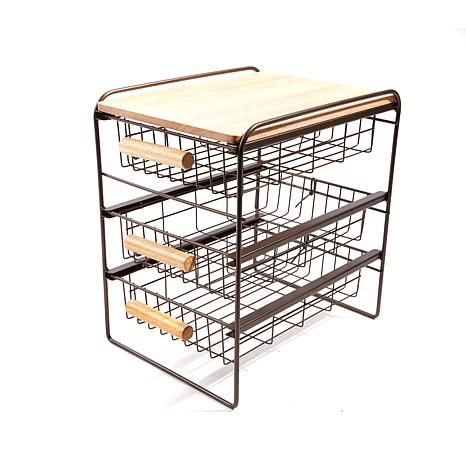 Origami 3 Drawer Countertop Organizer With Wooden Shelf 8282360