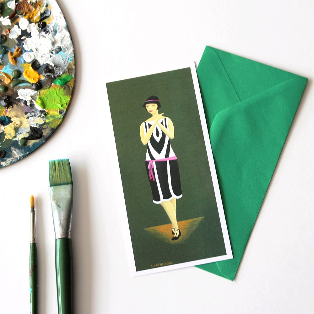 20s Fashion Illustrated Greeting Card Great For Lovers Gift Birthday Wall Decor Jazz Age Music Illustration