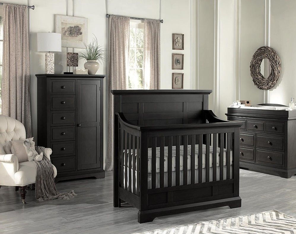 Crib heights for babies - Oxford Baby Dallas 4 In1 Convertible Crib Slate
