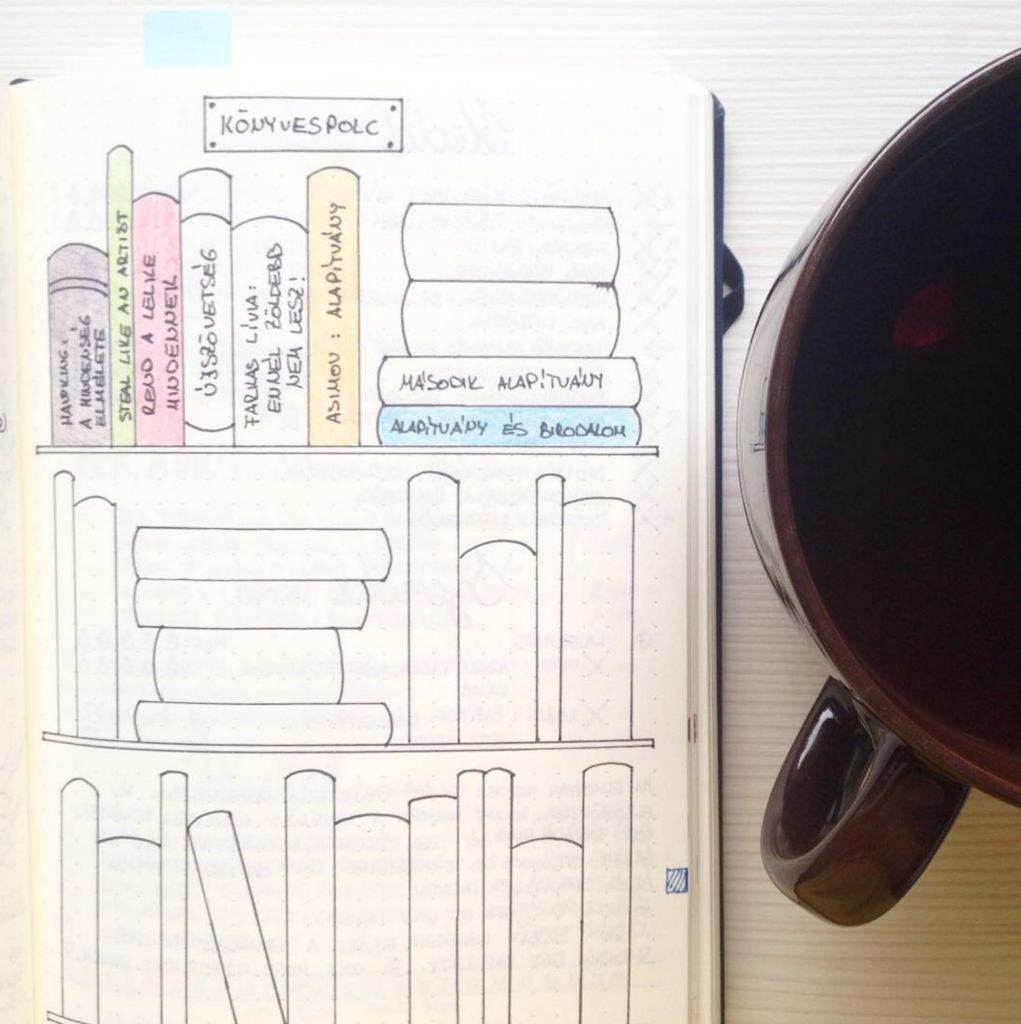 Bullet Journal estantería de libros para leer la colección por @timi_kincsesfuzet