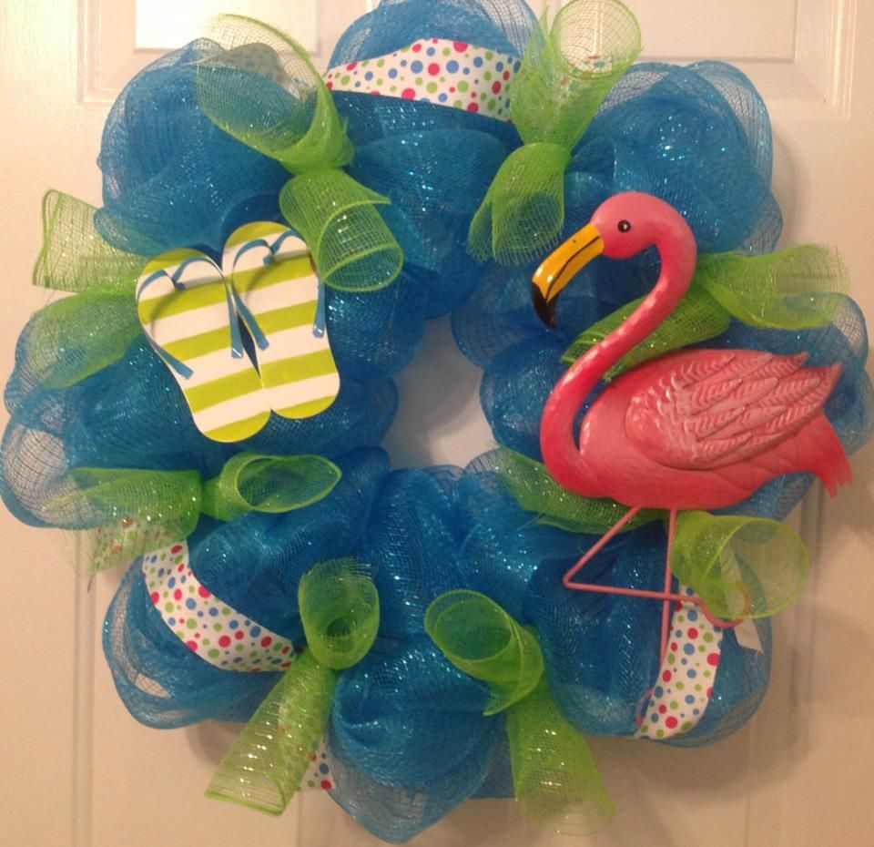 994a4d078 flamingo and flip flop mesh wreath with polka-dot ribbon. By ...