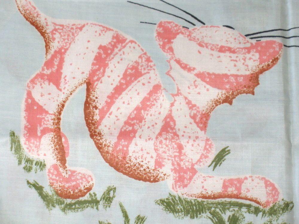 VTG JUVENILE NOVELTY COTTON FABRIC~PINK CAT~BLUE BUNNY~MUSHROOM~FISH~BUTTERFLY