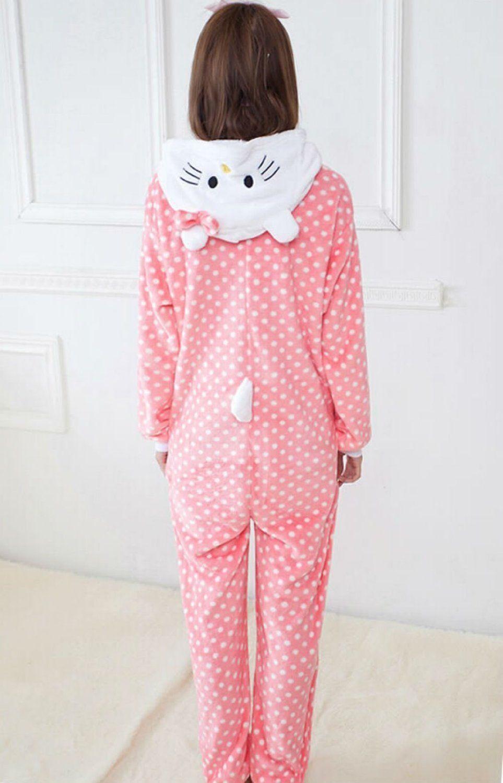 11b492efce0c Amazon.com  Women Men Hello Kitty Unisex Adult Animal Sleep Suit Cosplay  Kigurumi Costume Pajamas Outfit Costume Nightclothes Onesies Clothing  Pajamas ...