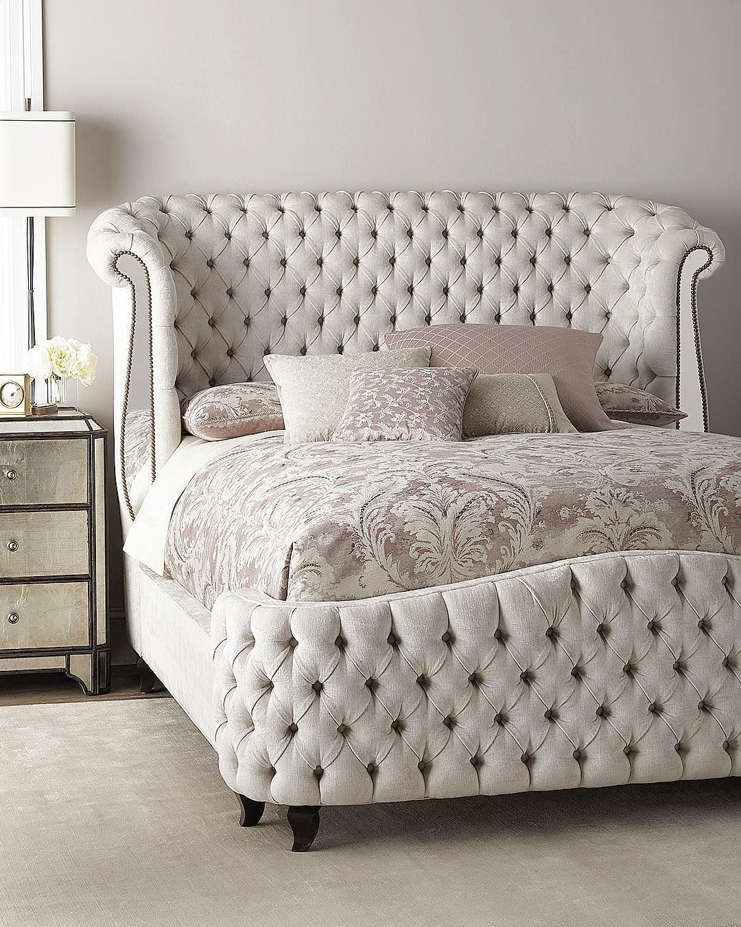 new savannah tufted bed with antique