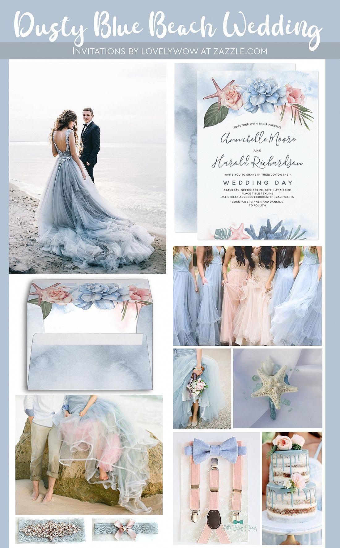 Dusty Blue And Blush Tropical Beach Wedding Invitation Zazzle