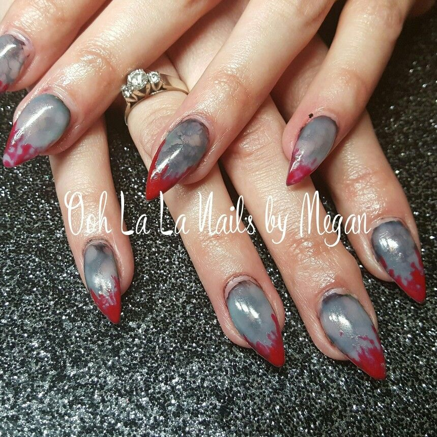 Awesome ZOMBIE nails!!! #allgel #oohlalanailsbymegan #zombienails #zombie #nailart #blood #redtips #gelnails
