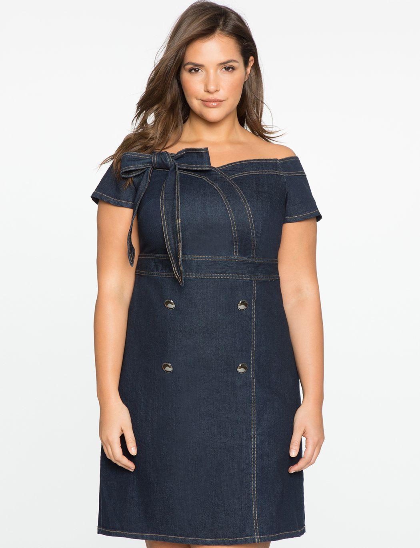 Off The Shoulder Plus Size Sweetheart Denim Dress Httpredirect