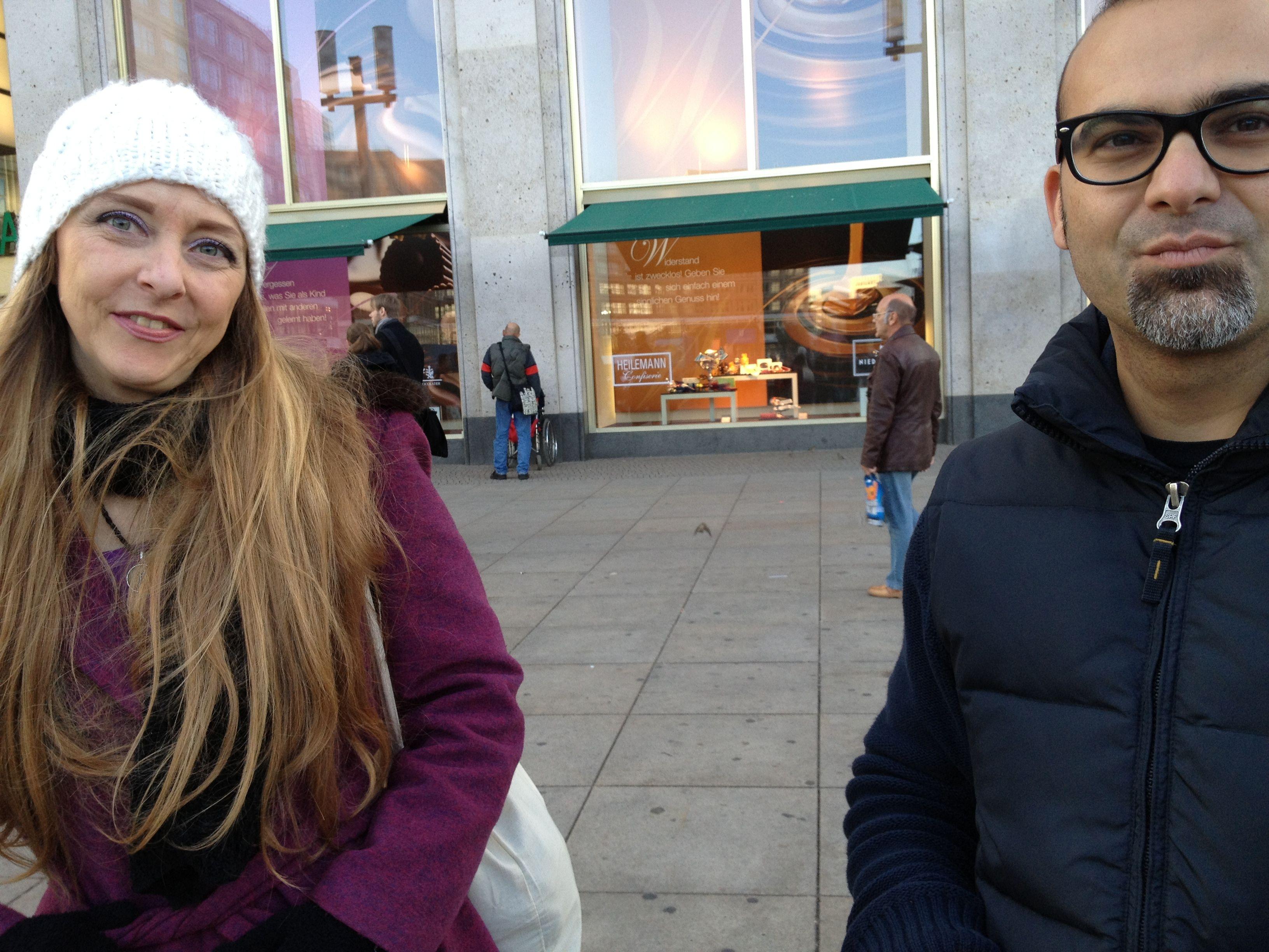 #ImprovFilmProject | #Berlin | actor Monique Amado (left) and director Xavier Agudo (right). Alexanderplatz.