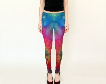 Tie Dye Leggings - Women's Leggings - Tie Dye Tights - Colorful Green Purple Pink Blue Leggings - Small Medium Large