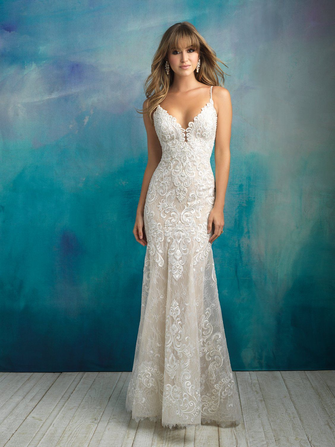 Stunning Sheath Lace Gown Allure Bridals 9501 Softly Unfurling Embroidered Appliques Sca Sheath Wedding Dress Lace Allure Wedding Dresses Allure Bridal