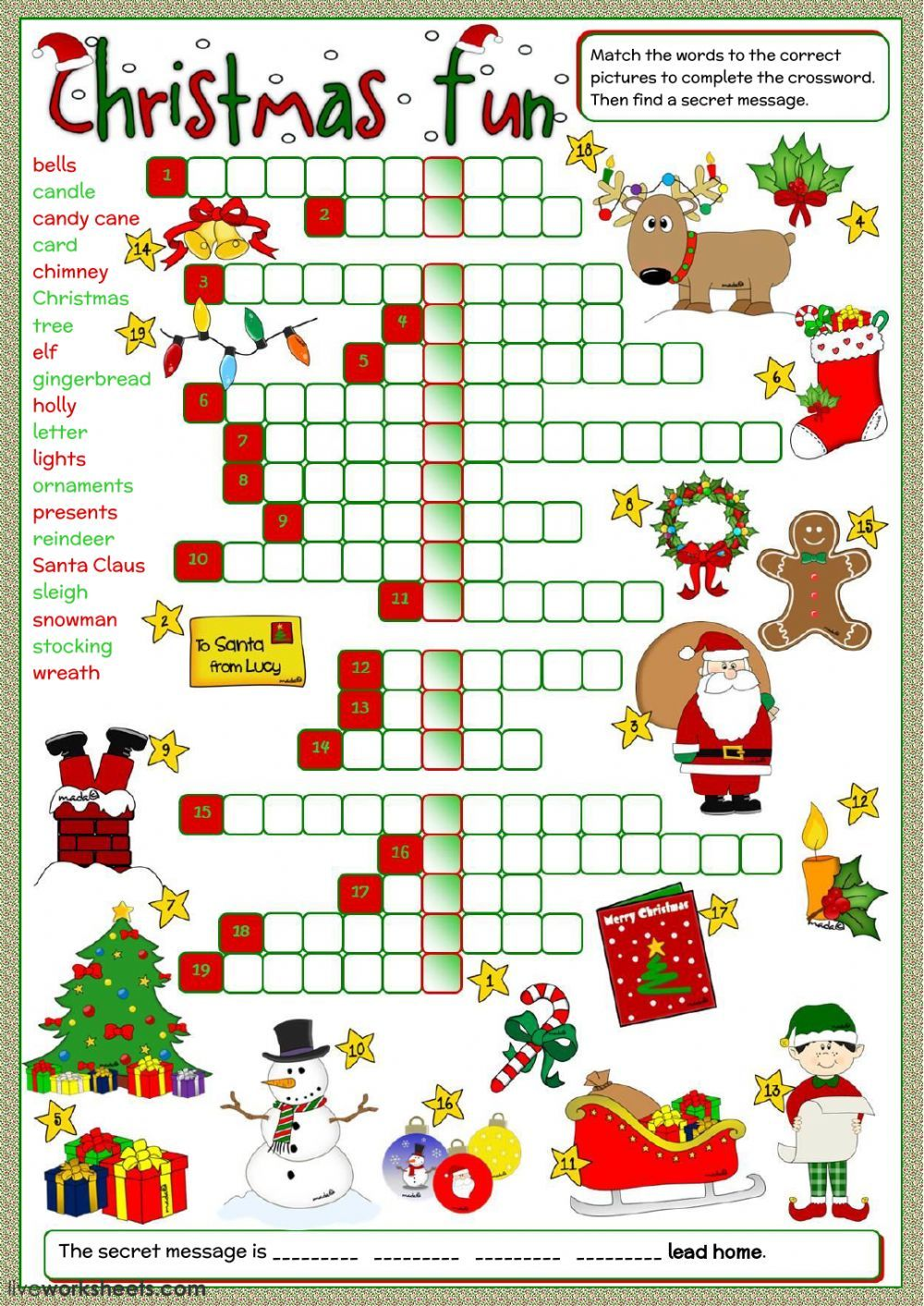 Christmas Interactive And Downloadable Worksheet You Can Do The Exercises Online Or Download The Wor Christmas Worksheets Christmas School Christmas Crossword