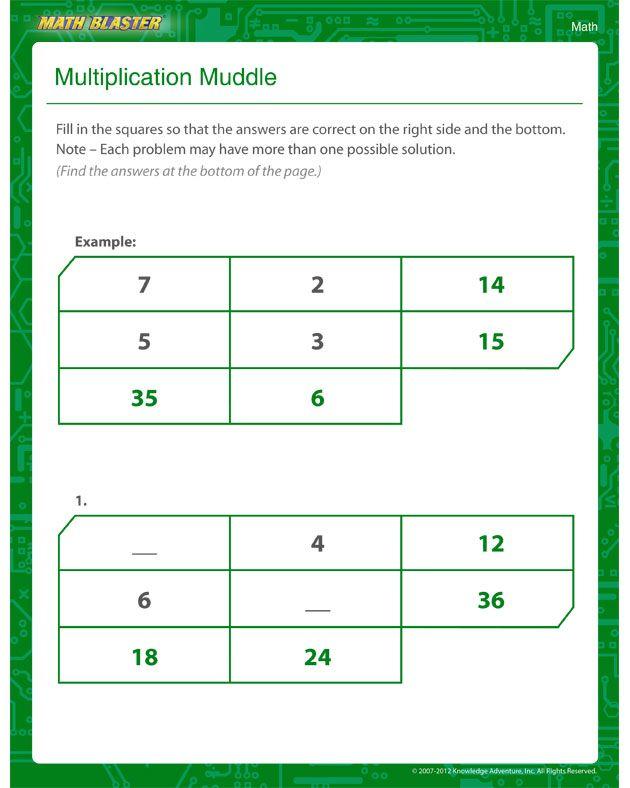 Multiplication Muddle - Multiplication Worksheet for Kids   Maths ...
