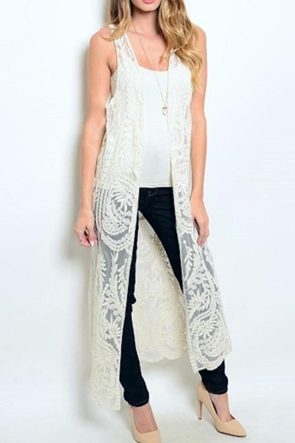 03131551ea4f0 Michele Long Embroidered Vest