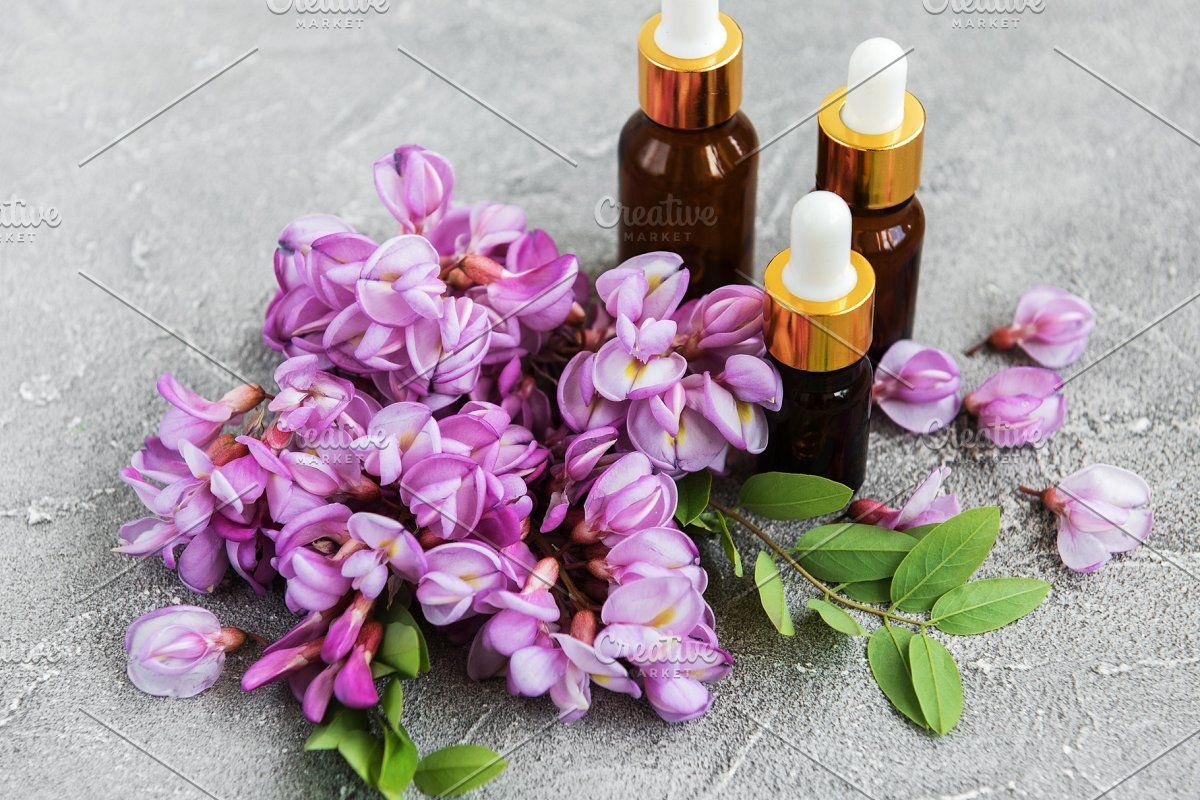 Essential Oils And Pink Acacia Flowe In 2020 Essential Oils Oils Pink