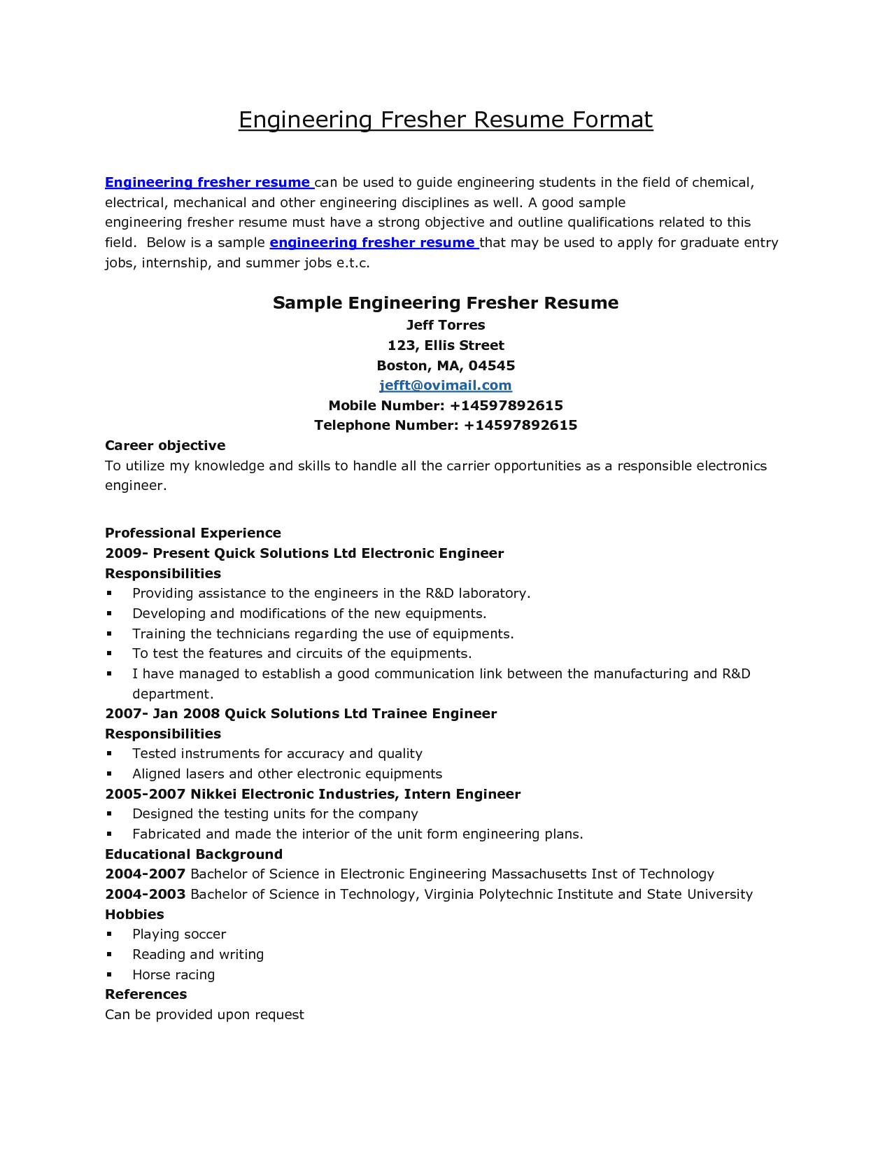 Resume Sample Resume Format For Engineers resume format for engineering students httpwww jobresume website