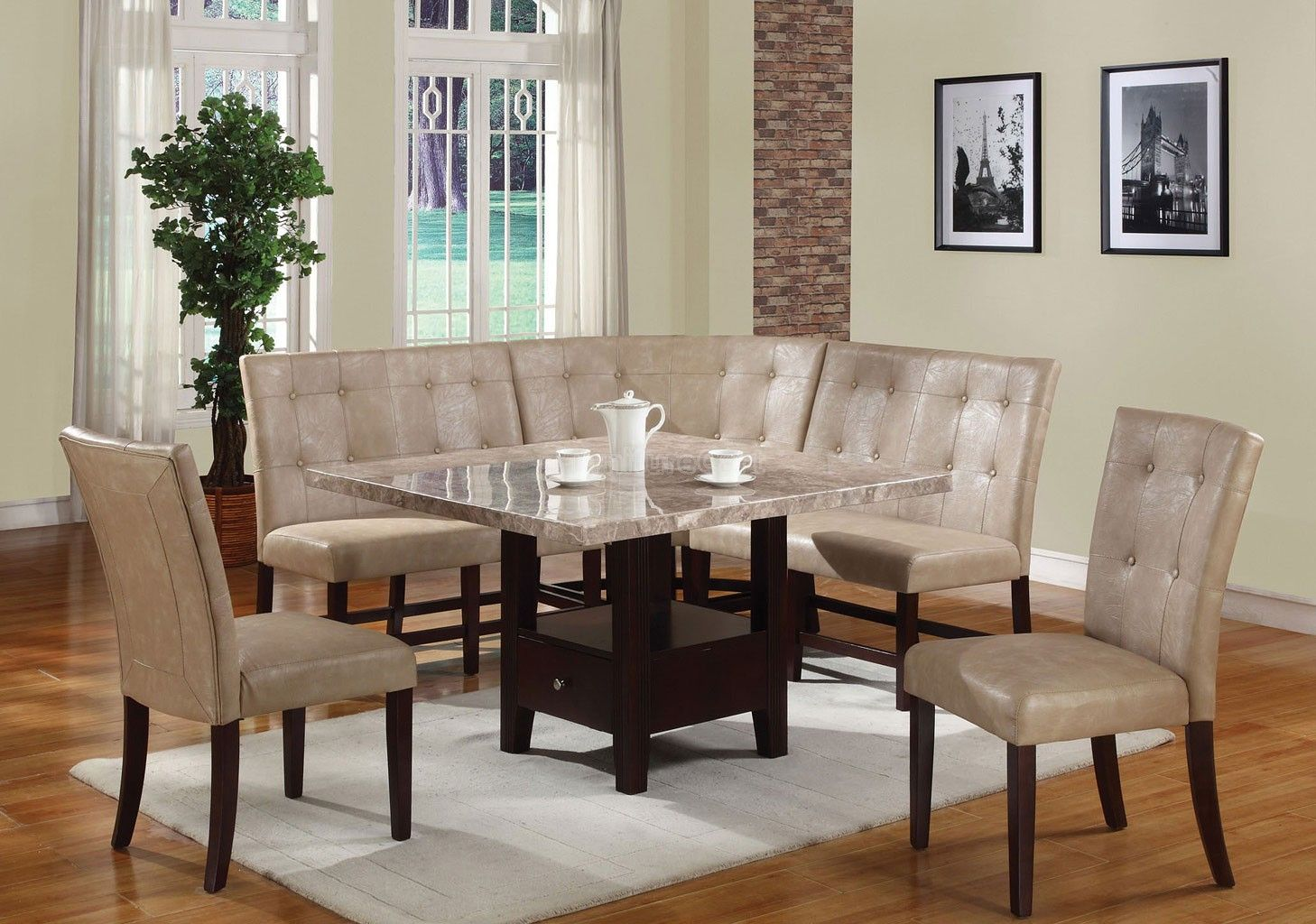 Britney Storage Dining Room Set w/ Cream Chairs images