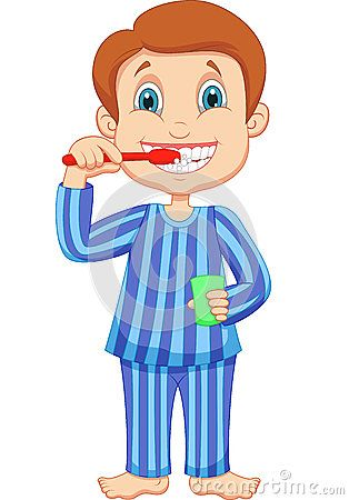 Brush Teeth Illustration Cute Little Boy Cartoon Brushing Teeth Royalty Free Stock Images Cute Little Boys Brush Teeth Kids Teeth Illustration