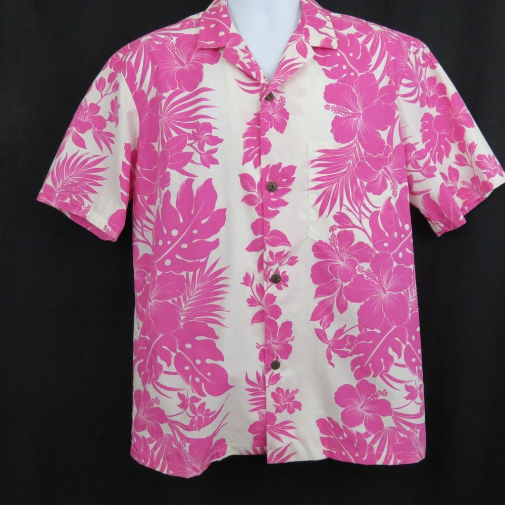 5960095bc This is a really nice, aloha shirt by Royal Creations featuring an bold hot  pink floral panel print on a white background POCKET: perfectly matched  patch ...