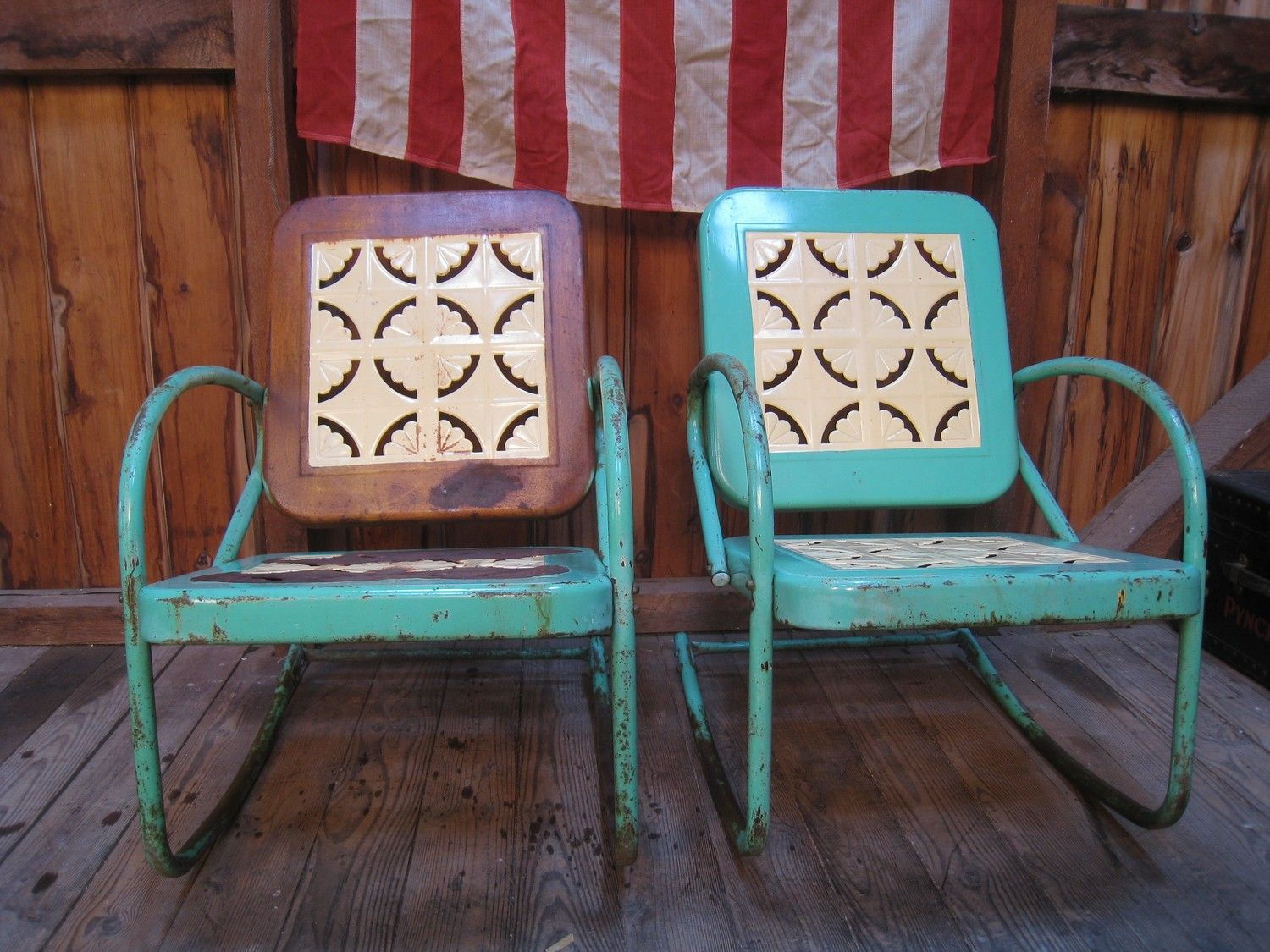 Vintage 1950s Metal Lawn Porch Glider Patio Chairs - Vintage 1950s Metal Lawn Porch Glider Patio Chairs Metal Lawn