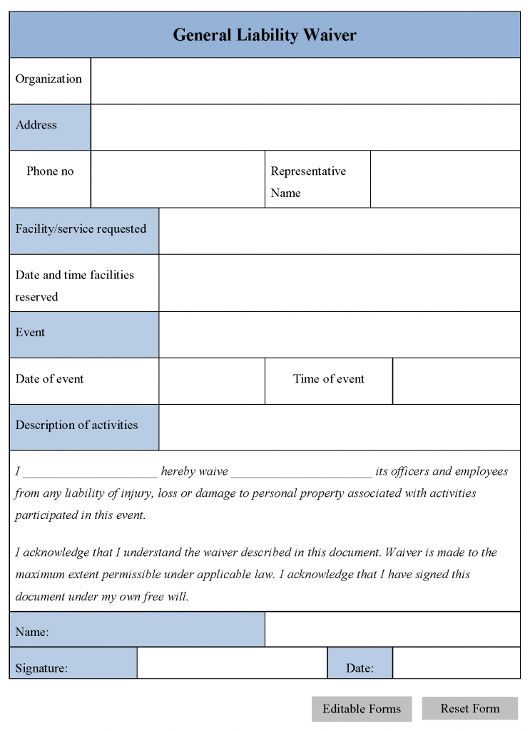 Printable Sample Release And Waiver Of Liability Agreement Form – Liability Waiver Form