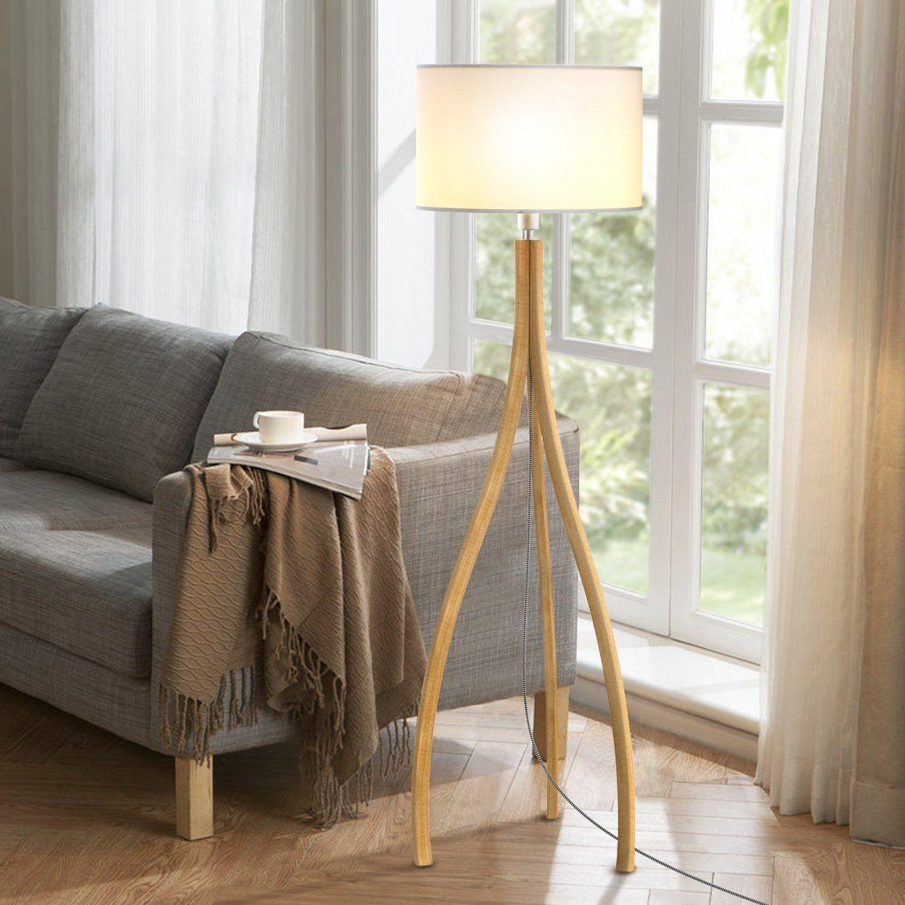 Tomons Modern Artistic Style Wood Tripod Floor Lamp White Tc Cloth Shade E26 E27 Bulb Base 160cm 63inch Height Tripod Floor Lamps White Tripod Floor Lamp Lamp