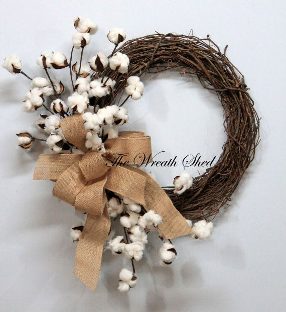 Natural Cotton Wreath Cotton Boll Wreath Natural Cotton Bolls 2nd Anniversary Gift Southern Decor Burlap Bow Cou Cotton Boll Wreath Cotton Wreath Wreaths