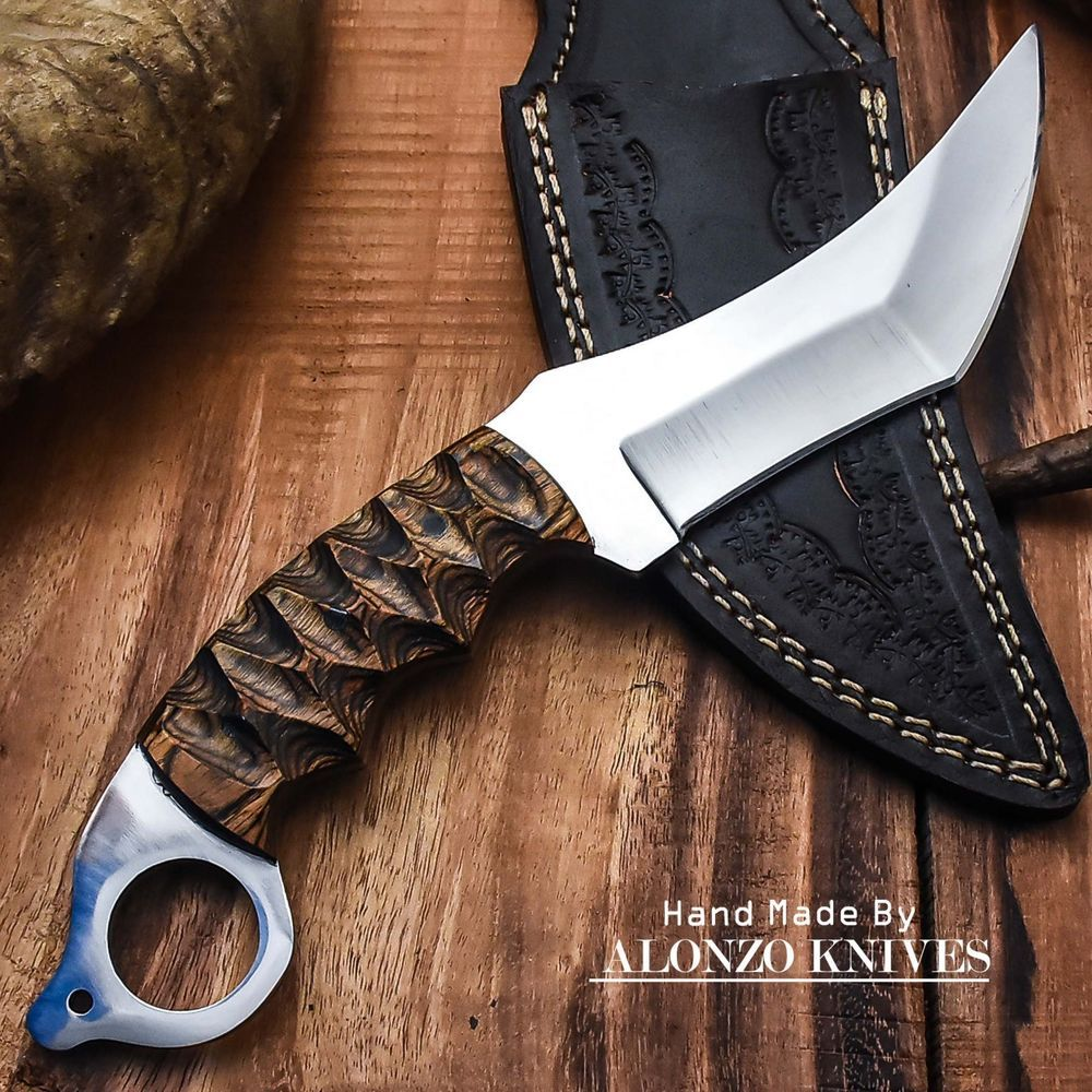 Alonzo Knives Usa Custom Handmade Tactical Karambit 1095 Knife Pakka Wood 1177 Alonzoknives Knife Karambit Knife Karambit