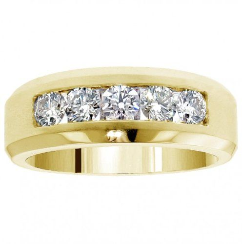 110 CT TW 5 Stone Channel Set Diamond Mens Wedding Ring In 14k Yellow Gold