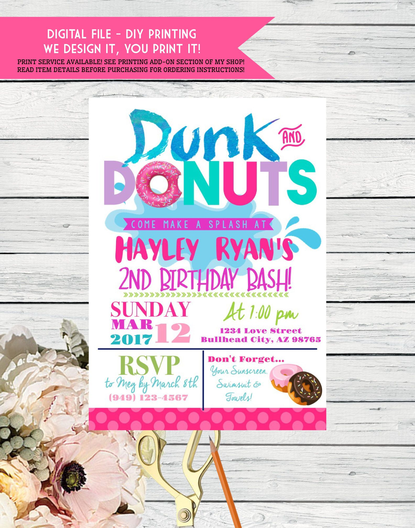 Dunk N Donut Party Birthday Invitation Pool Party Or Splash