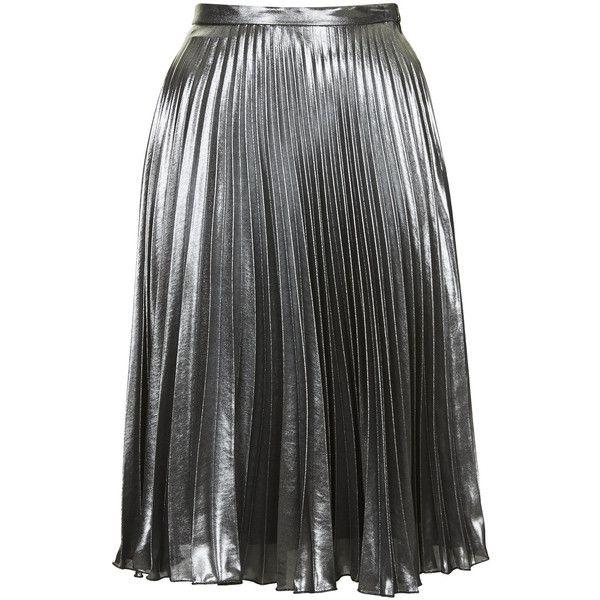 TOPSHOP Metallic Pleated Midi Skirt (£20) ❤ liked on Polyvore featuring skirts, bottoms, metallic, topshop, silver, metallic midi skirt, pleated skirt, knee length pleated skirt, metallic pleated skirt and topshop skirt