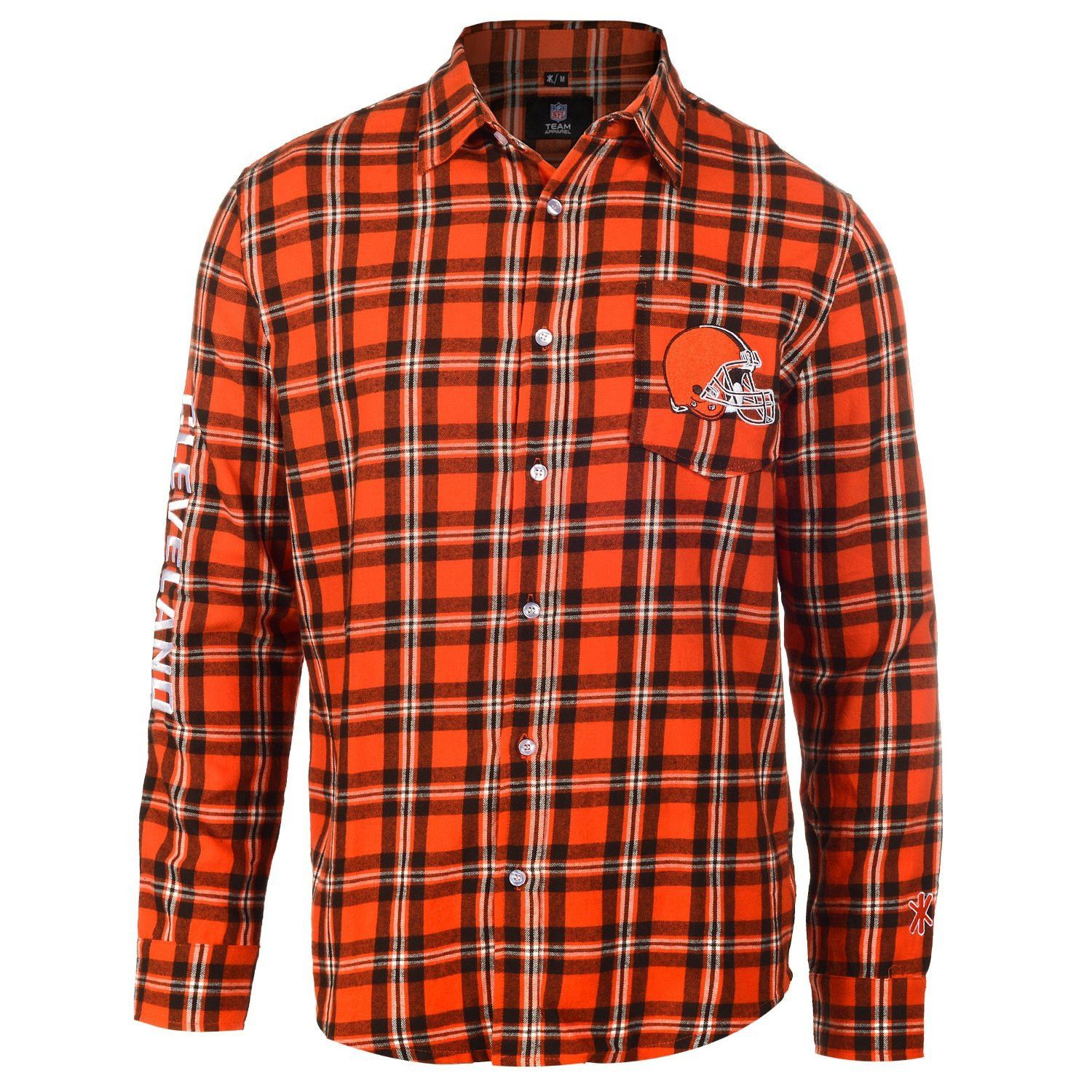 Cleveland Browns Wordmark Basic Flannel Long Sleeve Shirt Sizes S-XXL w/ Priority Shipping