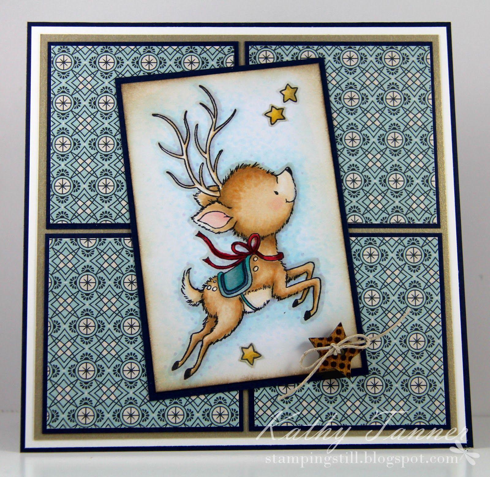 Reindeer Flying wild rose studio christmas card