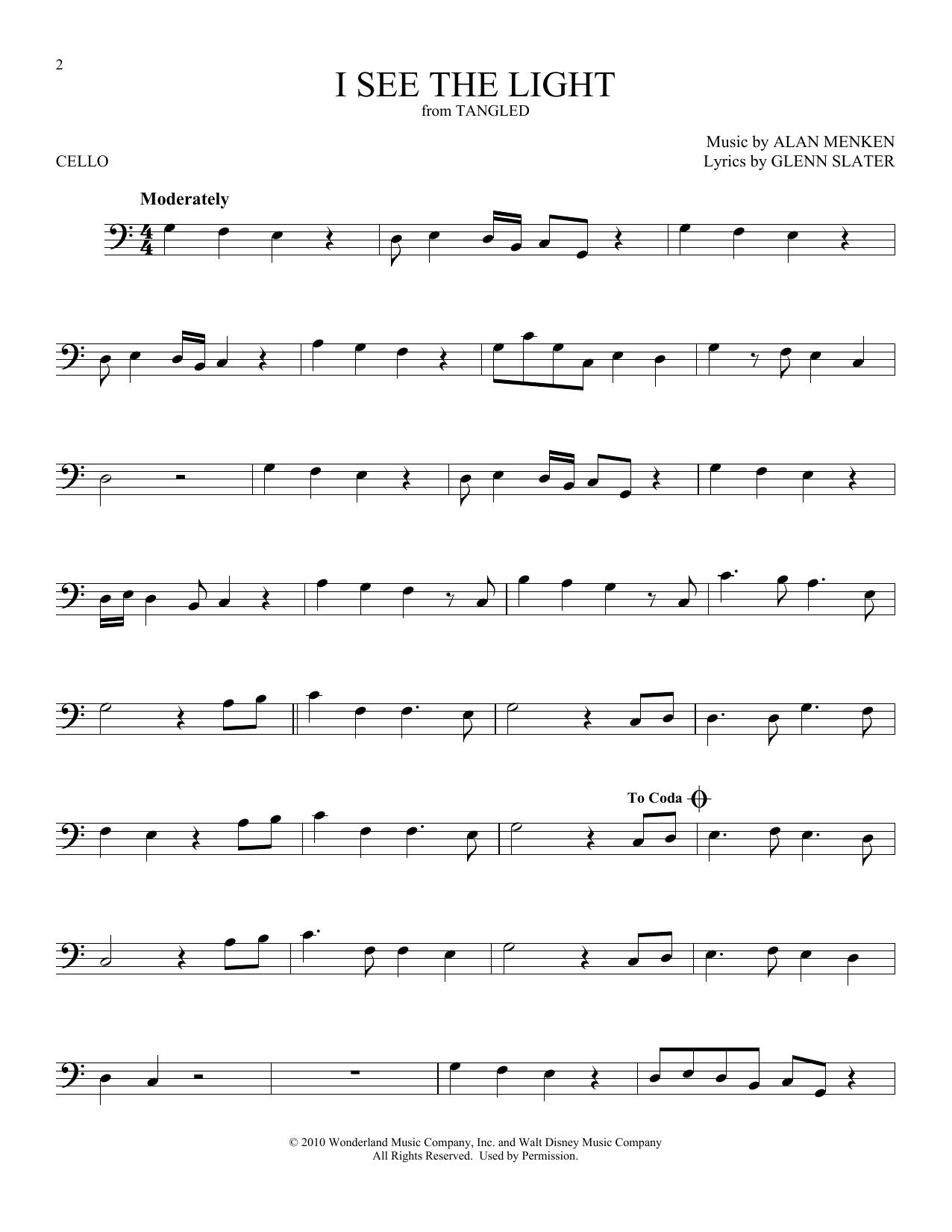 I See The Light From Disney S Tangled Sheet Music Alan Menken Cello Solo Cello Sheet Music Sheet Music Cello Music