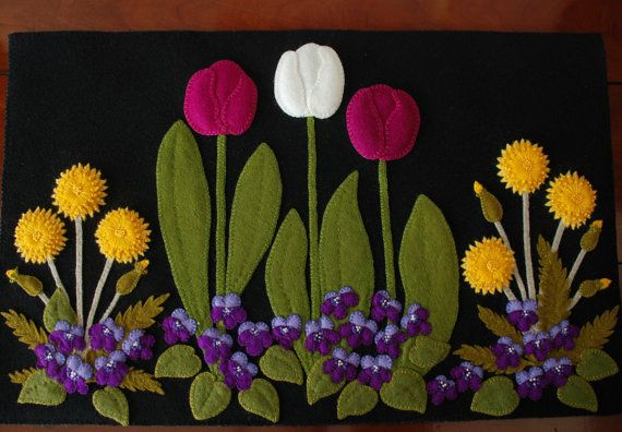 """Wool applique PATTERN """"Dandy Springtime"""" table runner topper wall hanging penny…"""
