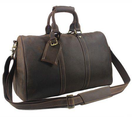 Vintage Crazy Horse Genuine Leather Travel bag Men Duffel Bag Luggage  Travel Bag Large Men Leather Duffle Bag Weekend Tote Big bbfa6a78c2
