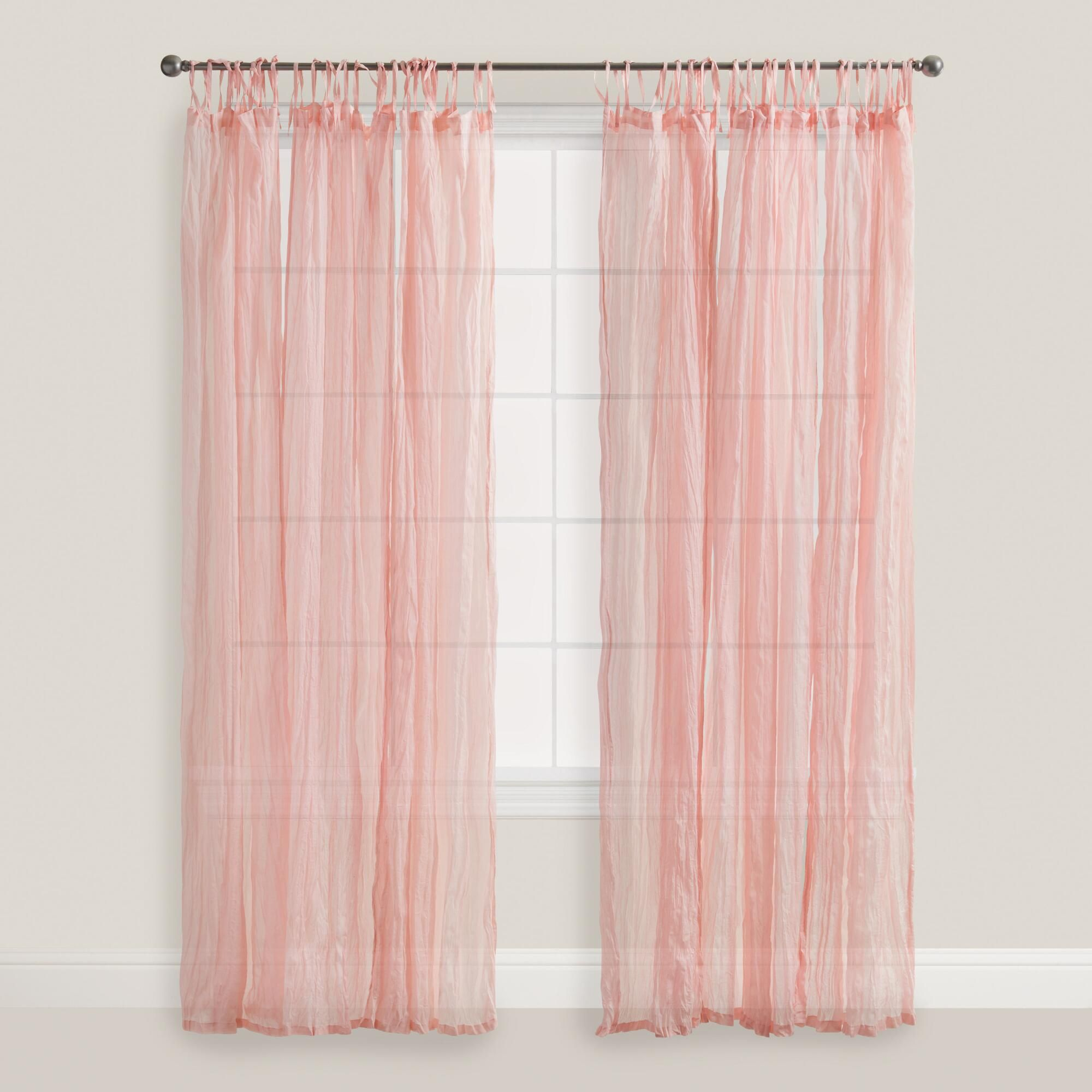 Crafted Of Cotton Voile In A Pink Hue Our Exclusive Tie Top Curtains Filter Light While Providing Privacy And Adding Crinkle Texture