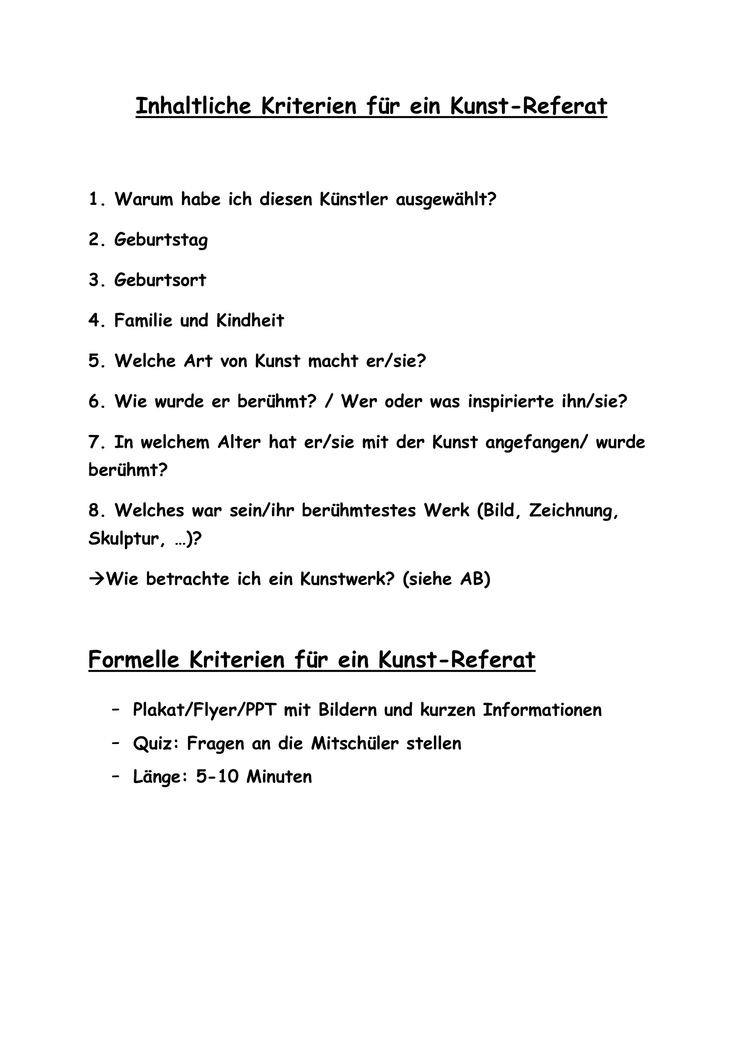 Inhaltliche Kriterien Fur Ein Kunstreferat Unterrichtsmaterial Im Fach Kunst Kunstunterricht Referat Kunst Grundschule