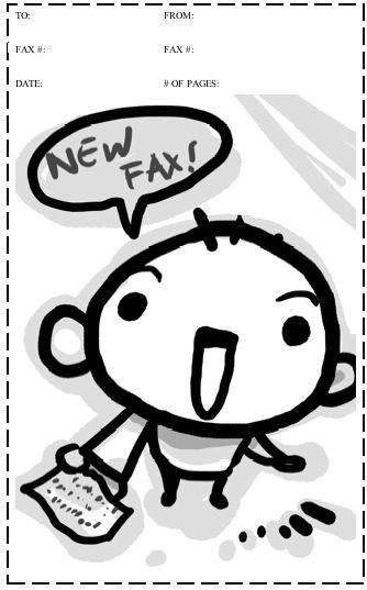 A cartoon baby yells out New Fax on this printable fax cover sheet - cute fax cover sheet