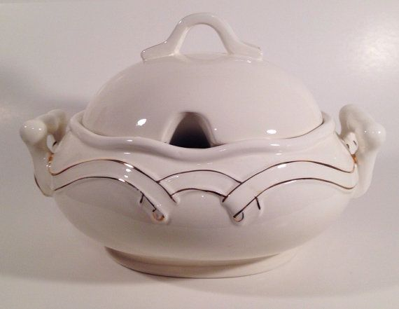 Gibson China White Soup Tureen with Gold Trim by SaradipityShop ...
