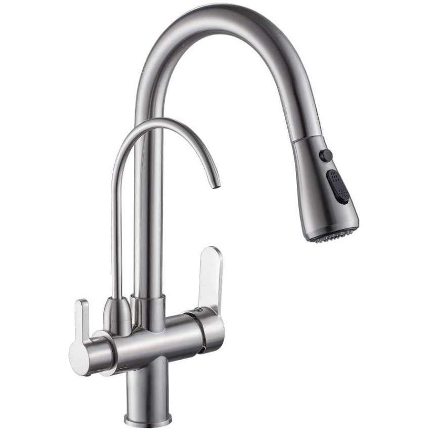 4 Wanfan Modern Kitchen Faucet Brushed Nickel In 2020 Modern Kitchen Faucet Kitchen Faucet Brushed Nickel Kitchen Faucet