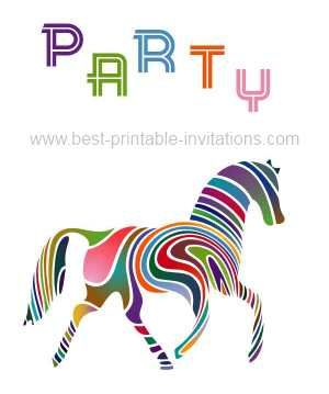 Free printable horse party invitations brightly colored horse