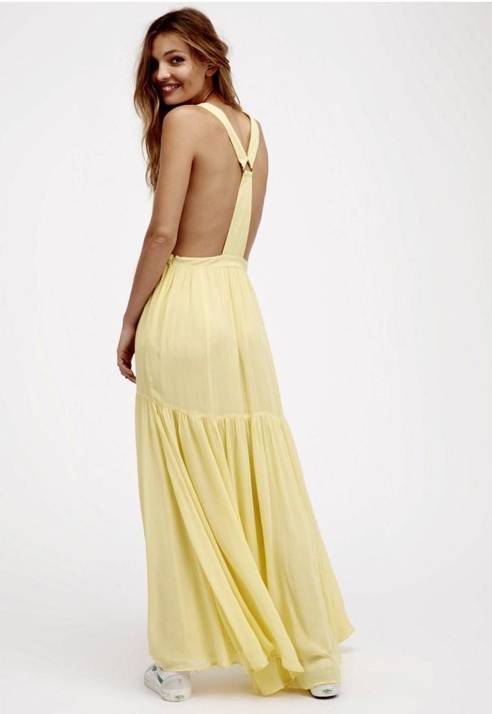 Yellow and beige maxi dress