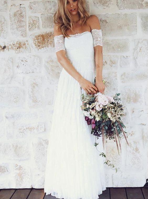 White Wedding Dresses Boho Wedding Dress Lace Wedding Dress Long Bridal Dress Wd00190 With Images Boho Wedding Dress Lace Summer Wedding Dress Beach White Lace Wedding Dress
