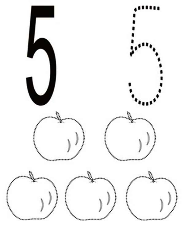 Learn Number 5 With Five Apples Coloring Page Bulk Color Apple Coloring Pages Apple Coloring Coloring Pages