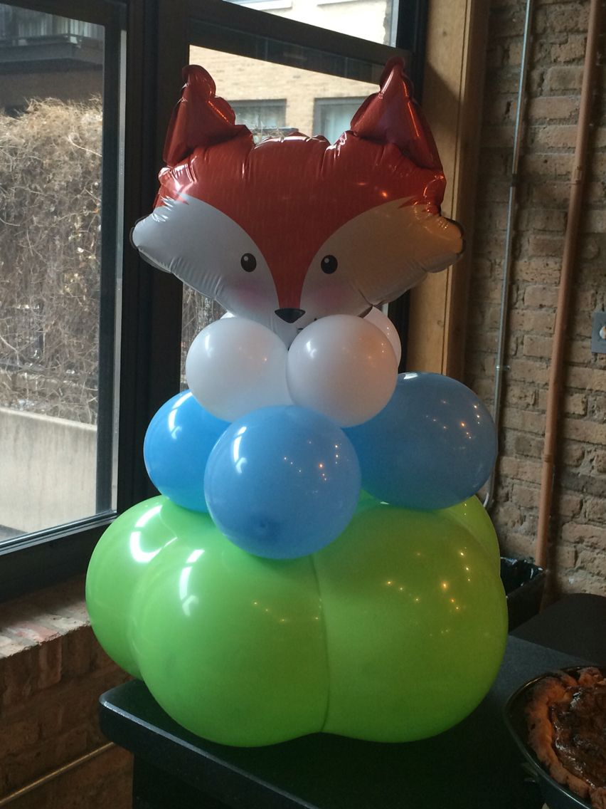 7 each, 14 inch fox heads, air filled Balloons, Cake pops