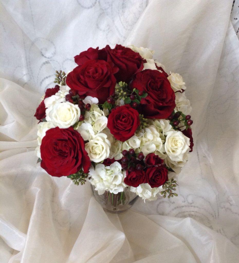Burgundy And White Wedding Bouquet Hydrangea Spray Roses Hyperi Black Pearl