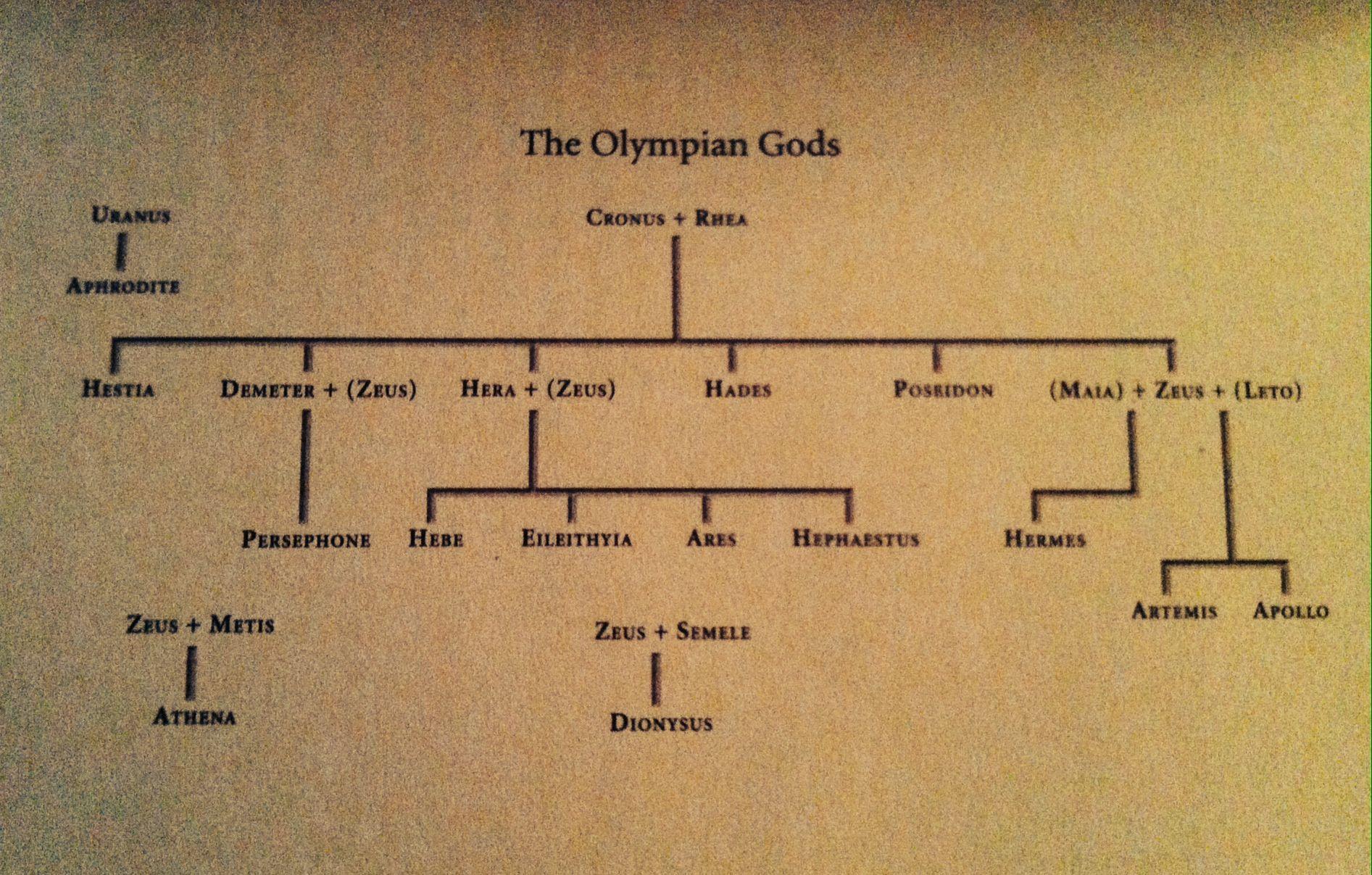 Greek Mythology The Olympian Gods Family Tree Greece Mythology Greek Mythology Greek Gods