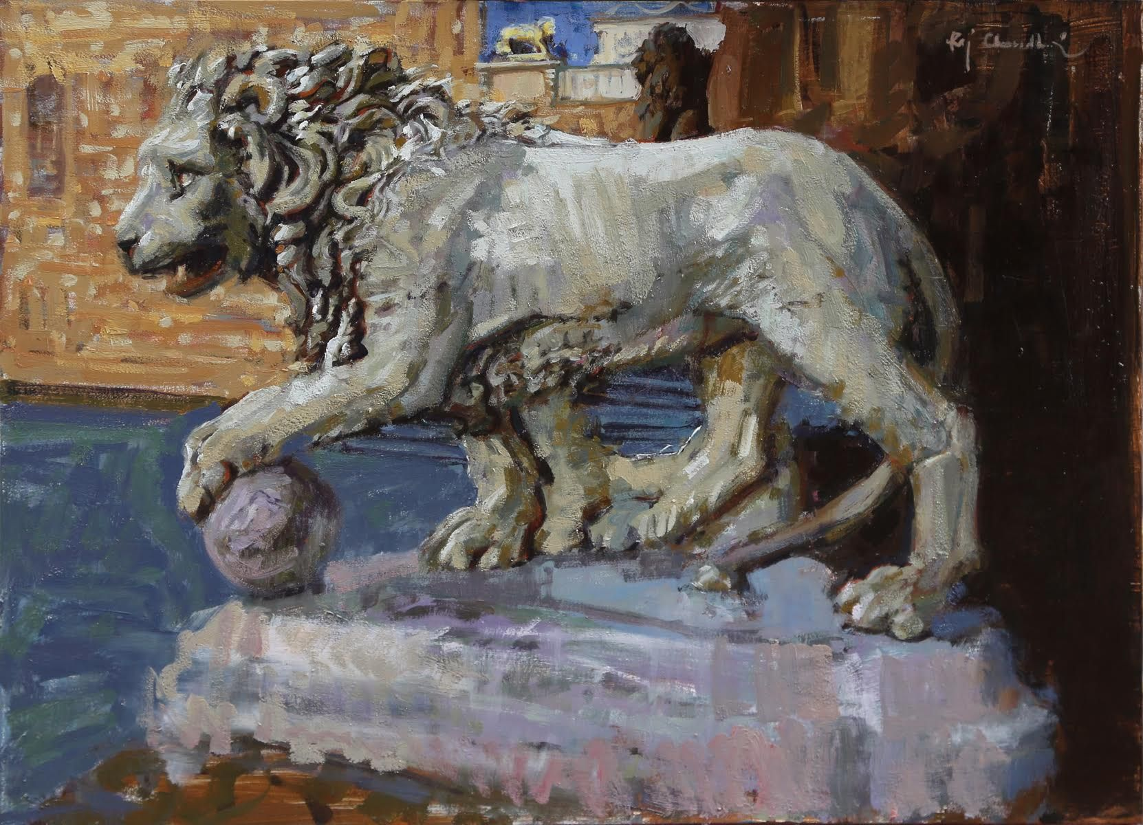 "Raj Chaudhuri ""Guarding the Uffiizi"" 12"" x 16"" Oil on Board"